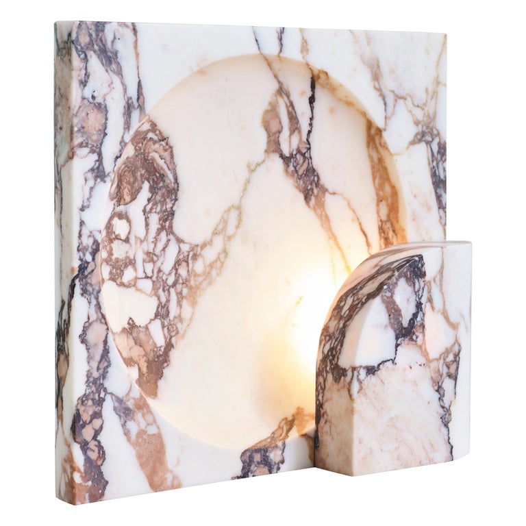 Block Sconce in Calacatta Viola Marble by Henry Wilson For Sale