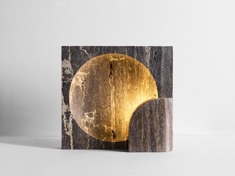 Modern Block, Sculpted Black Travertine Table Lamp by Henry Wilson For Sale