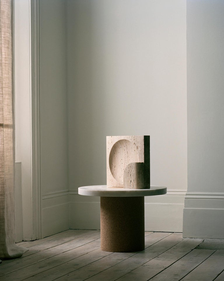 Block, Sculpted Black Travertine Table Lamp by Henry Wilson In New Condition For Sale In Collonge Bellerive, Geneve, CH