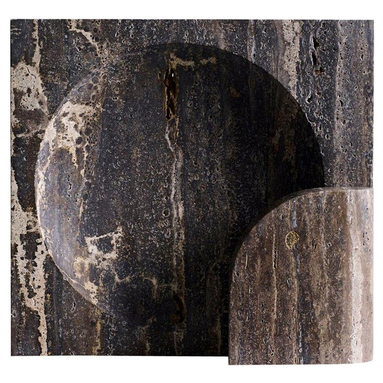 Block, Sculpted Black Travertine Table Lamp by Henry Wilson For Sale