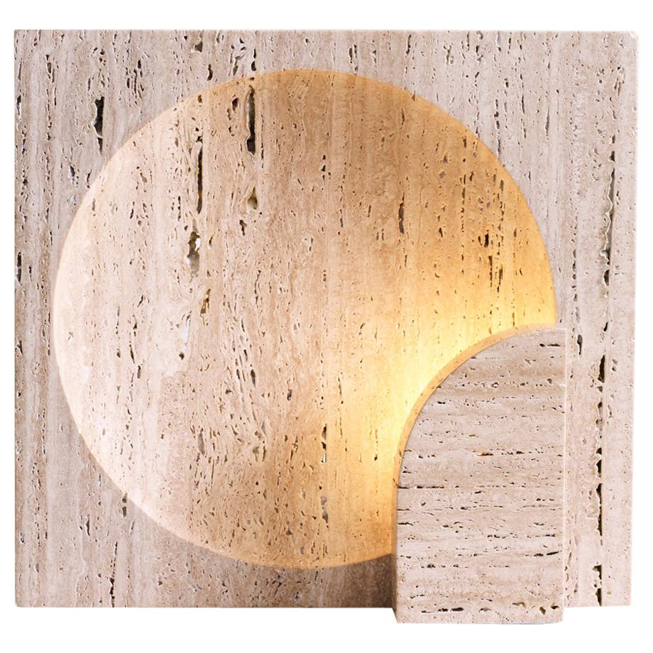 Block, Sculpted Travertine Table Lamp by Henry Wilson