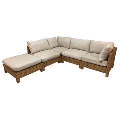 Block Wicker Woven Sectional Sofa
