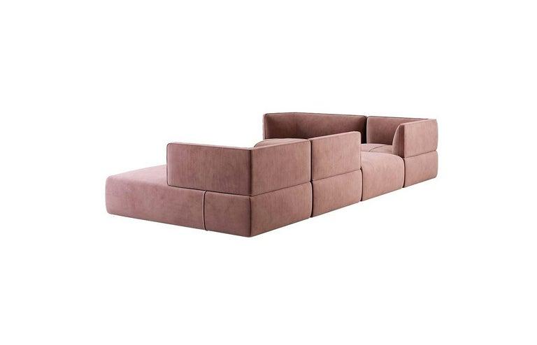 Modern Blocks Modular Sofa Offered in Taupe Cotton Velvet For Sale