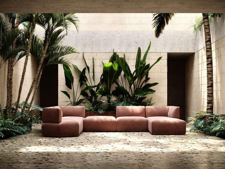 Portuguese Blocks Modular Sofa Offered in Taupe Cotton Velvet For Sale