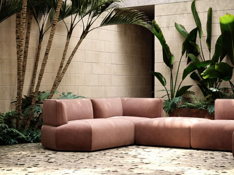 Blocks Modular Sofa Offered in Taupe Cotton Velvet In New Condition For Sale In New York, NY
