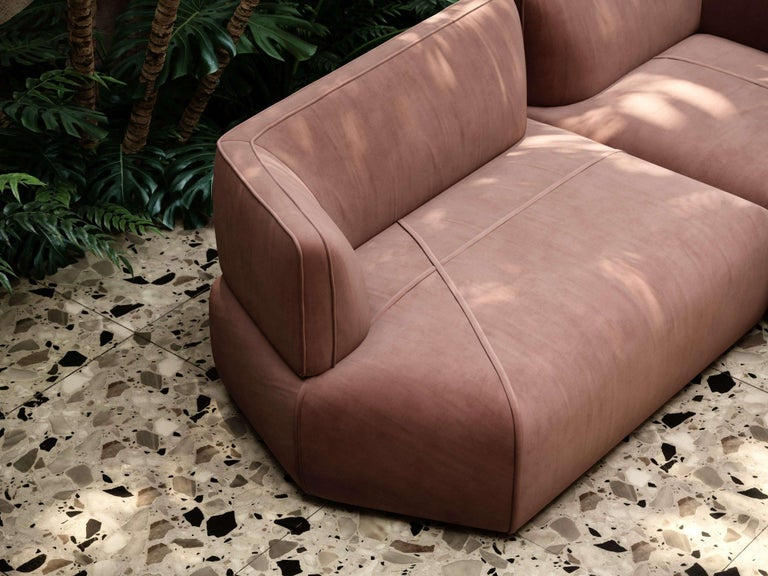 Contemporary Blocks Modular Sofa Offered in Taupe Cotton Velvet For Sale