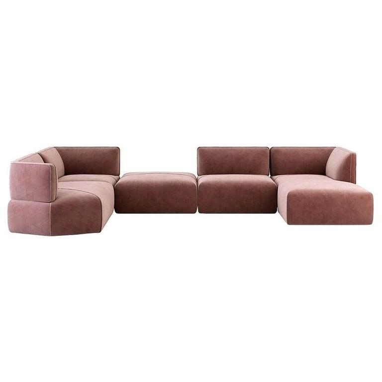 Blocks Modular Sofa Offered in Taupe Cotton Velvet For Sale