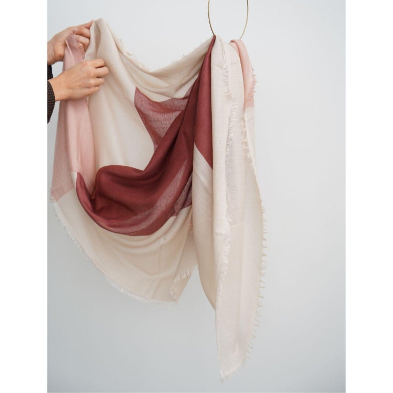 Hand-Woven BLOK ROSEWOOD  Scarf / Wrap / Shawl  For Sale
