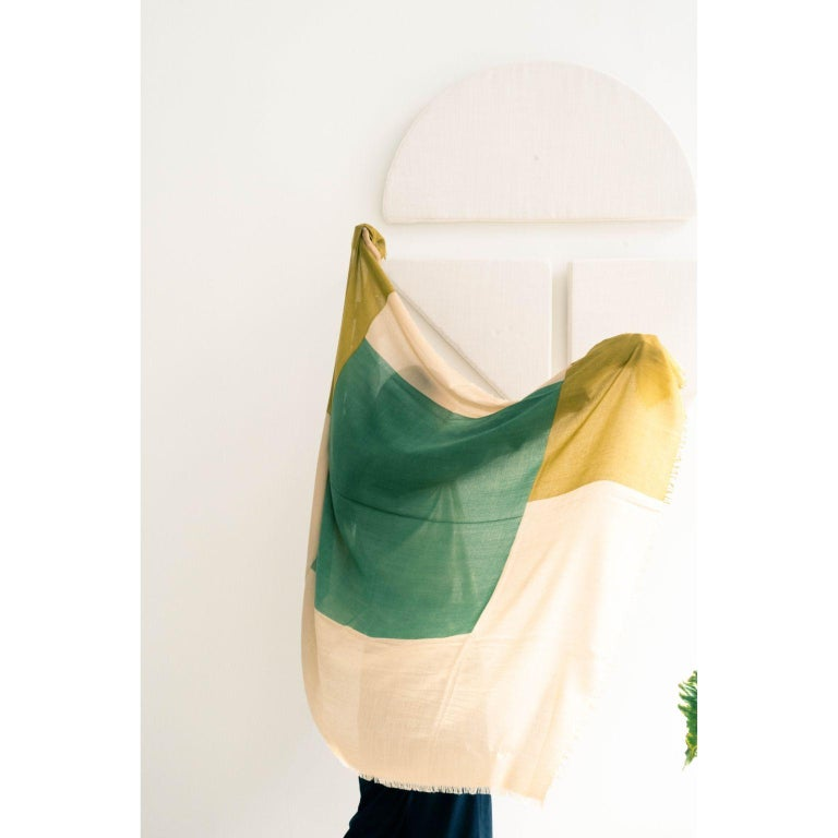 Custom design by Studio variously, Blok Topaz is one of a kind large square shaped scarf / wrap / shawl made by master artisans in Nepal.  A sustainable design brand based out of Michigan, Studio Variously exclusively collaborates with artisan
