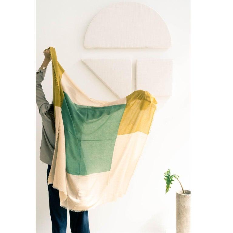 Modern BLOK TOPAZ  Cashmere Scarf / Wrap  For Sale
