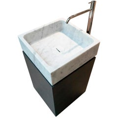 Blokko Carrara Marble Modern Italian Sink Washbasin and Cabinet by Antonio Lupi