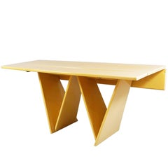Blond Midcentury Drop-Leaf Lacquered Table