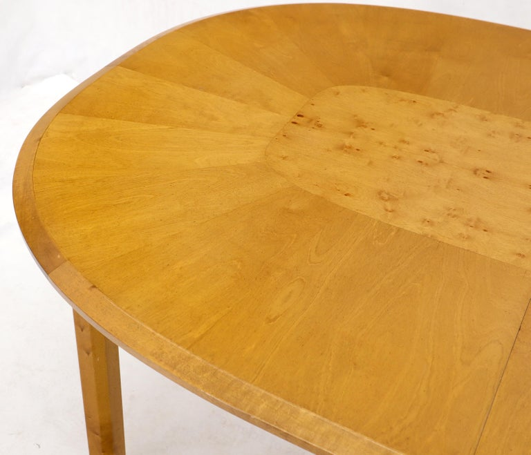 Blond Swedish Birch with Burl Oval Racetrack Dining Table Spece For Sale 4