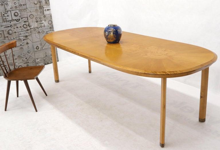 Mid-Century Modern Edmond Spence blond birch beveled edge racetrack dining table made in Sweden. 2 x 18