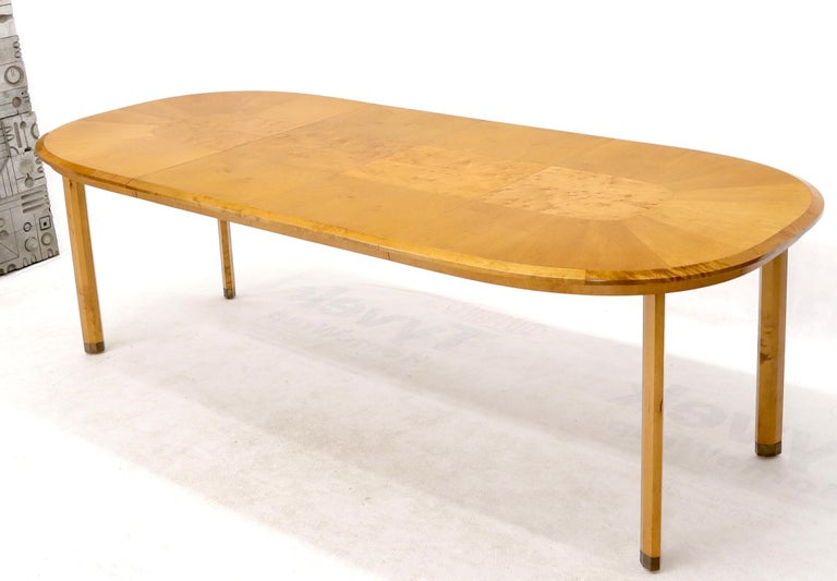 Blond Swedish Birch with Burl Oval Racetrack Dining Table Spece In Good Condition For Sale In Rockaway, NJ