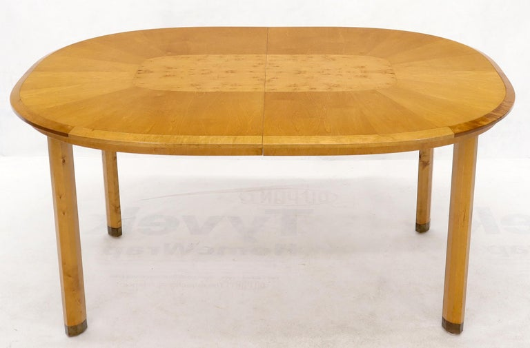 20th Century Blond Swedish Birch with Burl Oval Racetrack Dining Table Spece For Sale