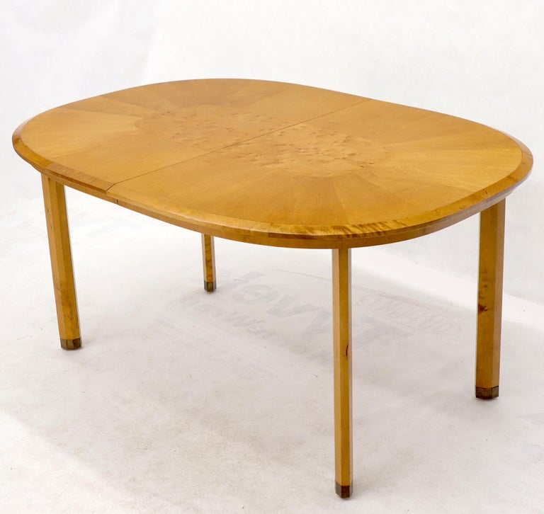 Blond Swedish Birch with Burl Oval Racetrack Dining Table Spece For Sale 1