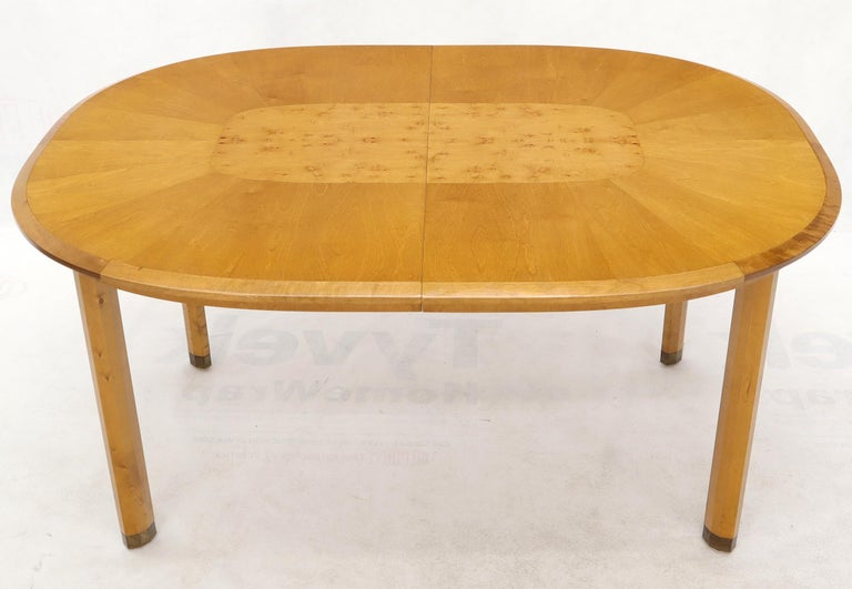Blond Swedish Birch with Burl Oval Racetrack Dining Table Spece For Sale 2