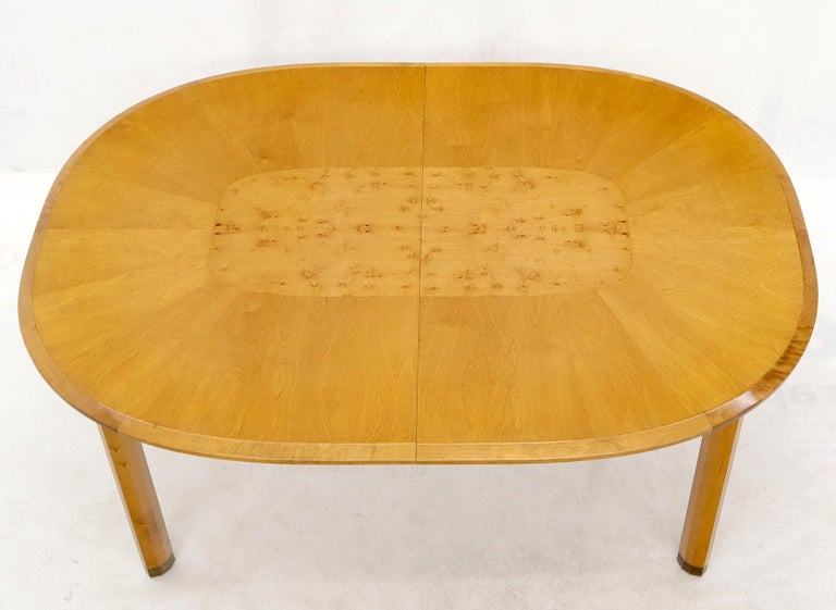 Blond Swedish Birch with Burl Oval Racetrack Dining Table Spece For Sale 3