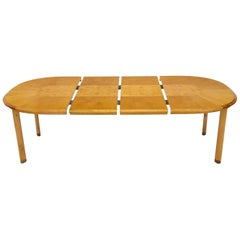 Blond Swedish Birch with Burl Oval Racetrack Dining Table Spece