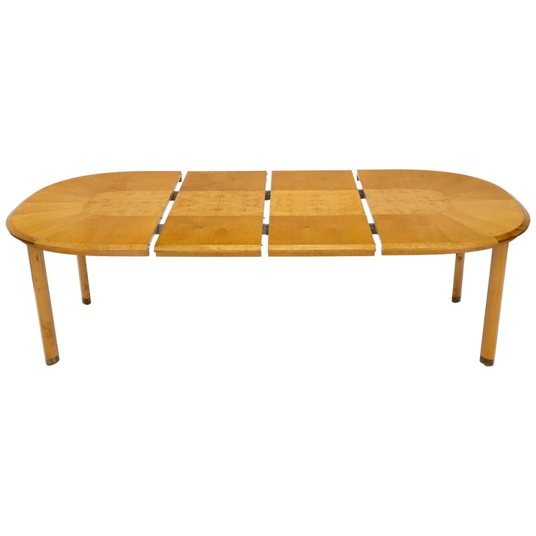 Blond Swedish Birch with Burl Oval Racetrack Dining Table Spece For Sale