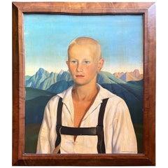 """""""Blond Youth w/ Lederhosen,"""" 1928 Portrait by Reyl-Hanisch, Renaissance-Inspired"""
