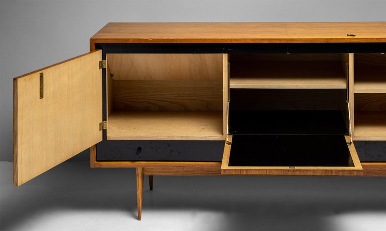 French Blonde Ash Enfilade by Charles Ramos, France circa 1950 For Sale