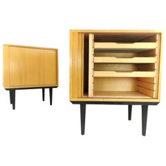 Blonde Danish Hundevad Tambour Cabinets Midcentury Vintage