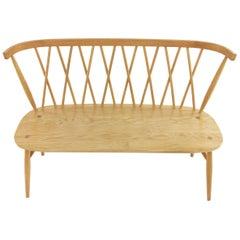 Blonde Elm Modern Ercol Love Seat Mid Century Design