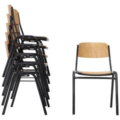 Blonde Plywood Industrial Stacking Chairs with Enameled Metal Frames