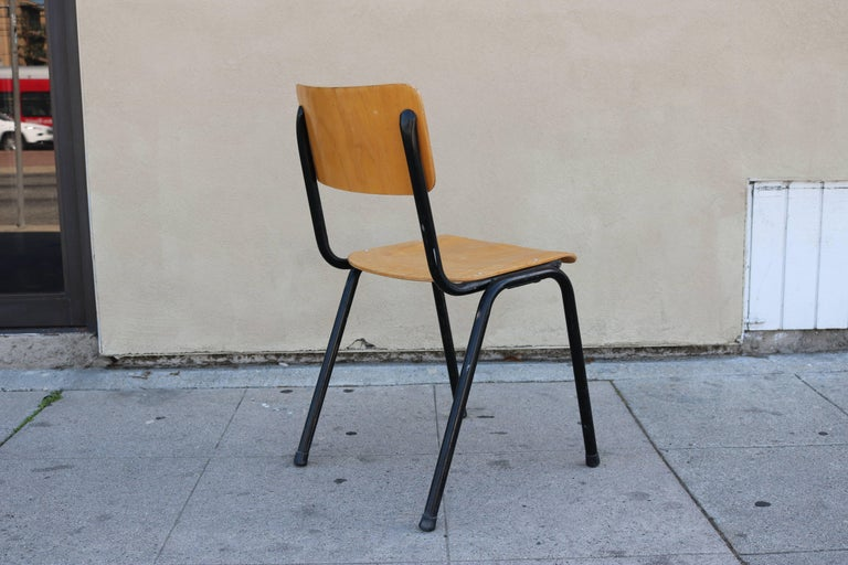 Mid-Century Modern Blonde Plywood Set of Four Danish Chairs For Sale