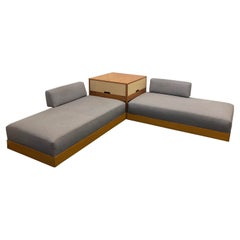 Blonde Wood and Grasscloth Daybeds by Herman Miller
