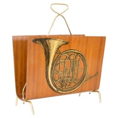 Blonde Wood Magazine Rack with Musical Instrument Design