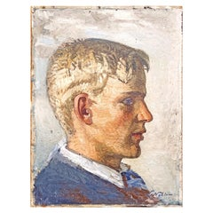 """Blonde Youth,"" Impressionist Portrait of Staffan Nyblom by Swedish Painter"