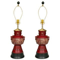 Blood Red Asian Inspired Vessels as Table Lamps