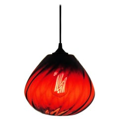 Blood-Red Contemporary Hand Blown Optical Pendant Lamp