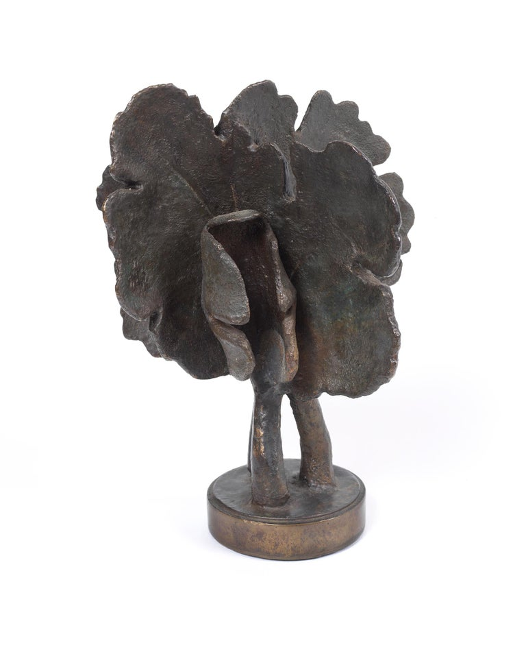 American Bloodroot, Small Scale Cast Bronze Botanical Sculpture with Subtle Patina For Sale