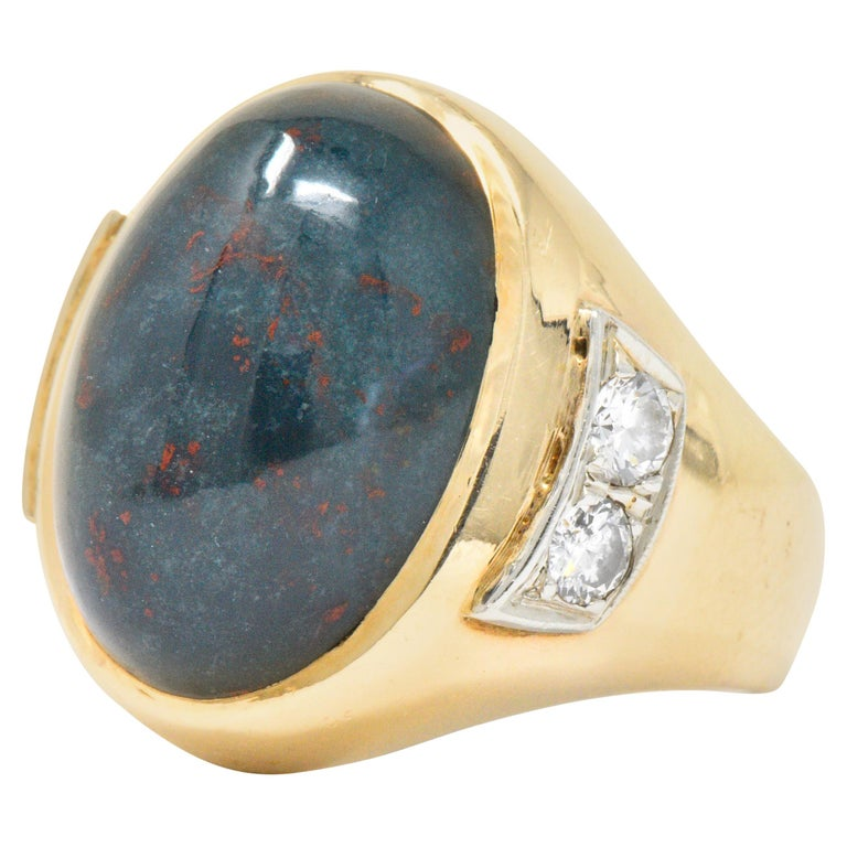 Bloodstone Diamond 14 Karat Gold Unisex Ring
