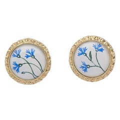 Bloom Fiordaliso 18 Karat Yellow Gold and Enamel Earrings