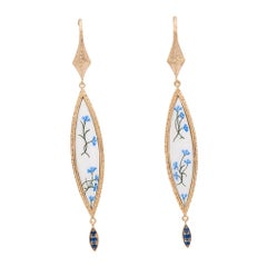 Bloom Fiordaliso in 18 KT Yellow Gold and Hand Painted Enamel Earrings