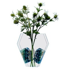 Bloom, Flower Vase with Fluorite in Hand Cut and Polished Ultra Clear Glass
