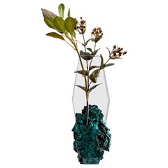 Bloom, Flower Vase with Malachite in Hand Cut and Polished Ultra Clear Glass