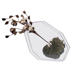 Bloom, Flower Vase with Pyrite in Hand Cut and Polished Ultra Clear Glass