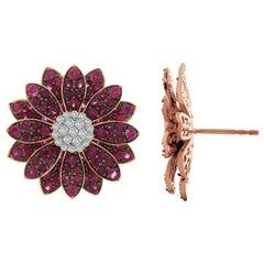 Bloom Ruby Diamond Stud Earrings