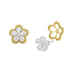 Stud Earring - Blooming Flower Design White and Yellow Diamond Jacket Earring