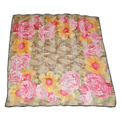 Blooming Roses With Snake Silk and Silk Chiffon Scarf