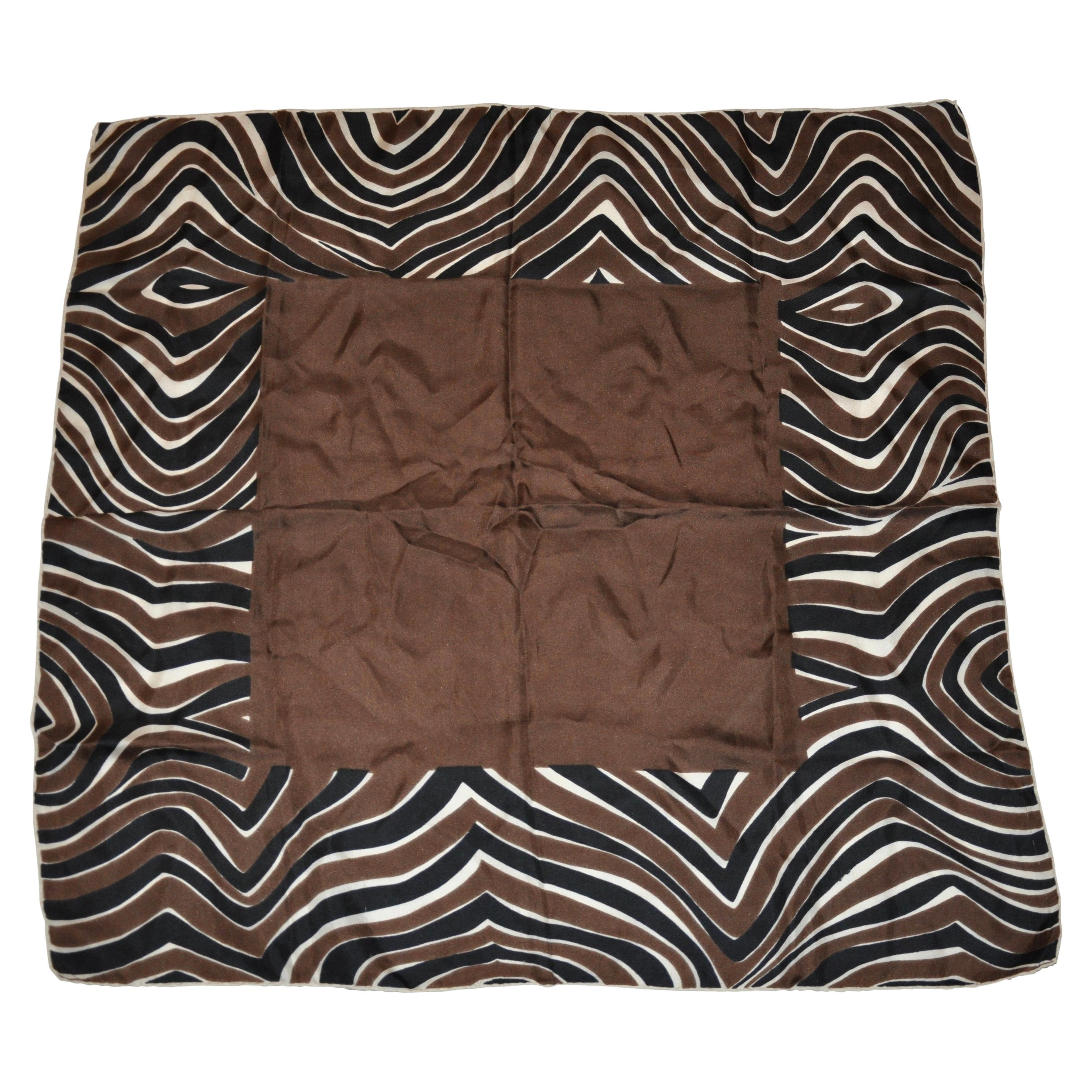 "Bloomingdale''s Chocolate Brown with ""Zebra Stripes""  Borders Silk Scarf"