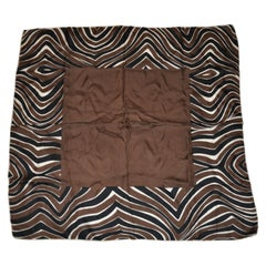 "Bloomingdale''s Chocolate Brown with ""Zebra Stripes""  Borders Silk Scarf"