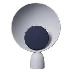 Blooper LED Table Lamp in Ash Grey with Navy Blue Dimmer Disc by Mette Schelde