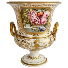 Bloor Derby Porcelain Campana Vase, White with Gilt and Flowers, Regency ca 1815